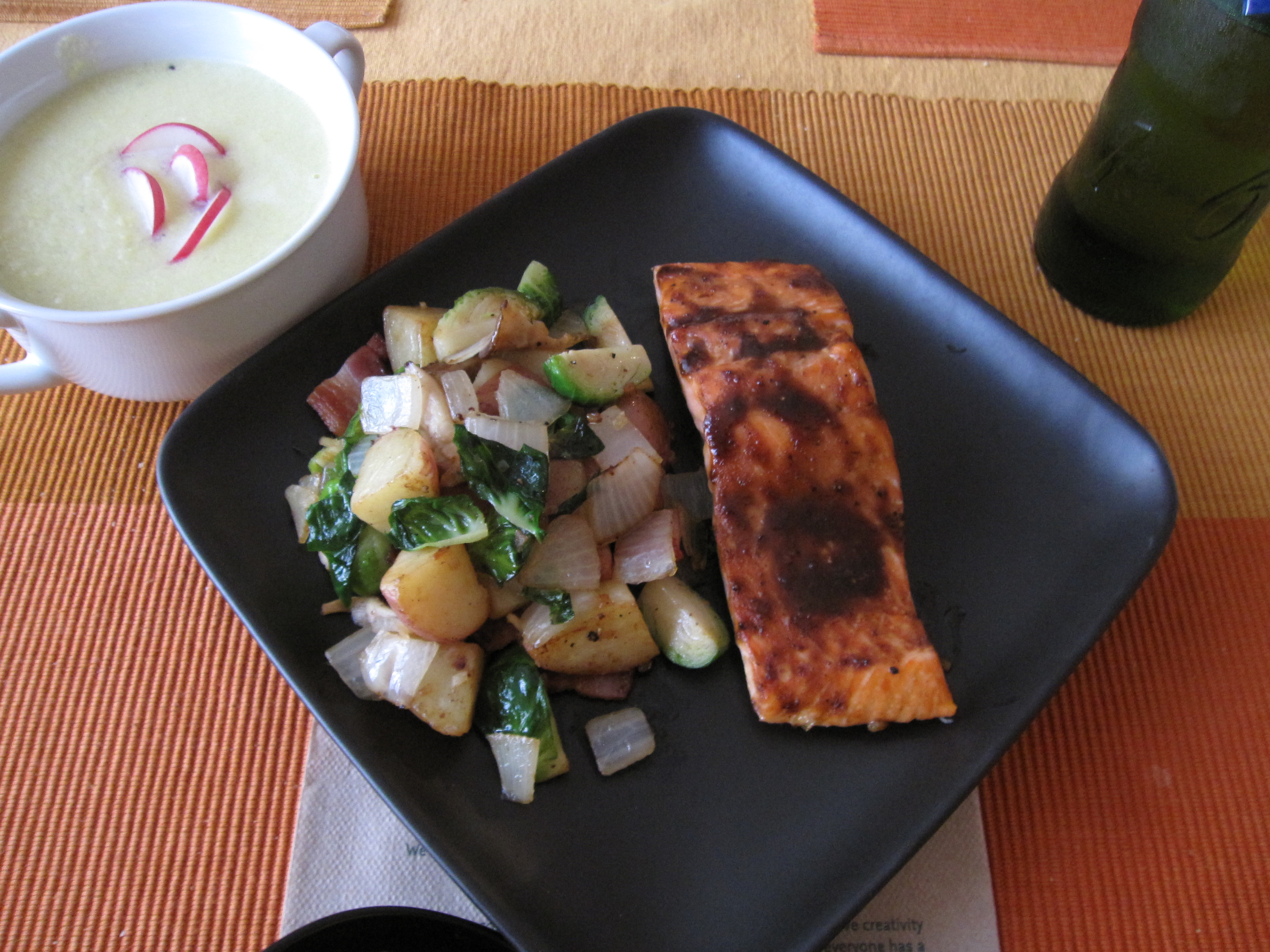 Hoisin-glazed Salmon with Brussel Sprout Hash and Corn Soup | Dan ...